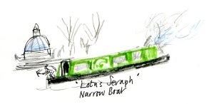 green narrow boat